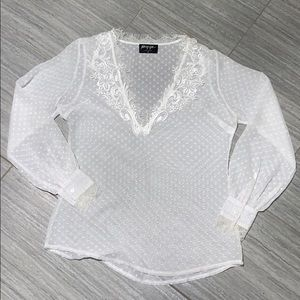 Sheer long sleeve lace detail blouse